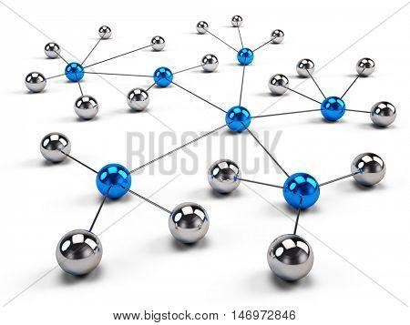 Concept of Network, social media, internet communication. 3d illustration