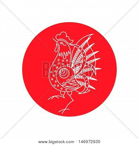 2017 Lunar Year celebration. Traditional Chinese symbol on red background.