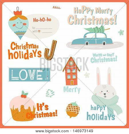 Cute Vector Cards, Notes, Stickers, Labels, Tags with Winter Christmas Illustrations and Wishes. Template for New 2016 Year Greeting Design Scrapbooking, Congratulations, Invitations.