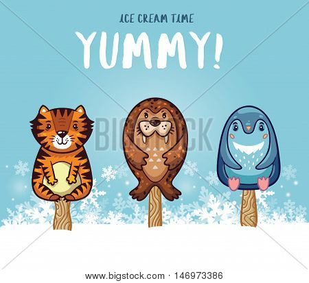 Set of ice cream on a stick with cartoon animals on blue background. Cute animal popsicles collection with tiger, seal and penguin in the snow. Yummy