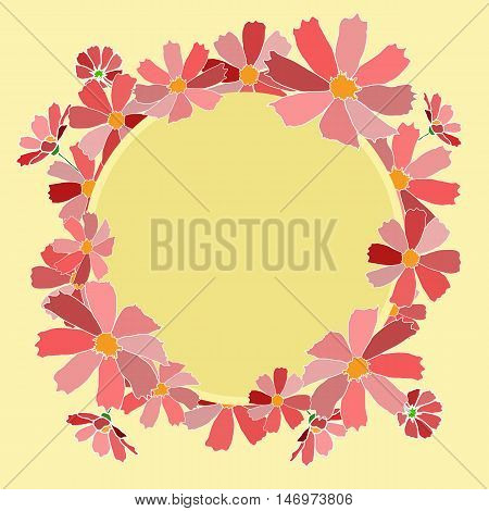 vector illustration background card claret shades op pink flowers bouquet frame yellow