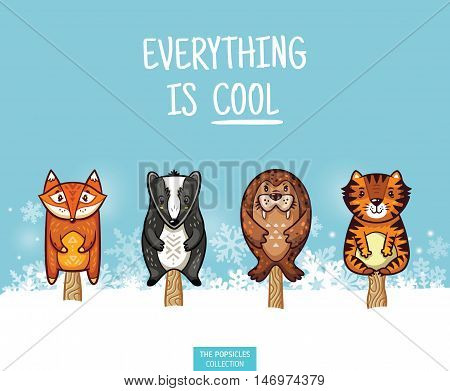Set of ice cream on a stick with cartoon animals on blue background. Cute animal popsicles collection with fox, badger, seal and tiger in the snow. Everything is cool