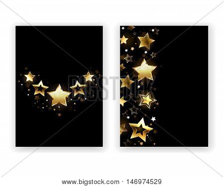 Brochure design with gold shining stars on a black background. Five Stars. Design with stars. Golden Star.