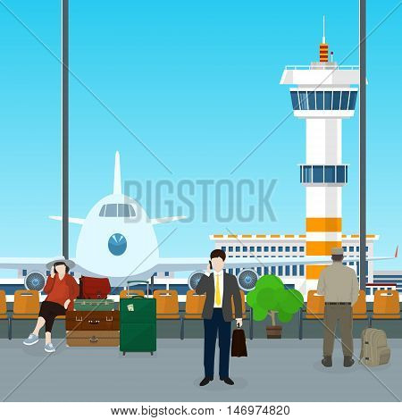 Waiting Room with People in Airport , View on Airplane and Control Tower through the Window from a Waiting Room , Scoreboard Arrivals at Airport, Travel Concept, Flat Design, Vector Illustration