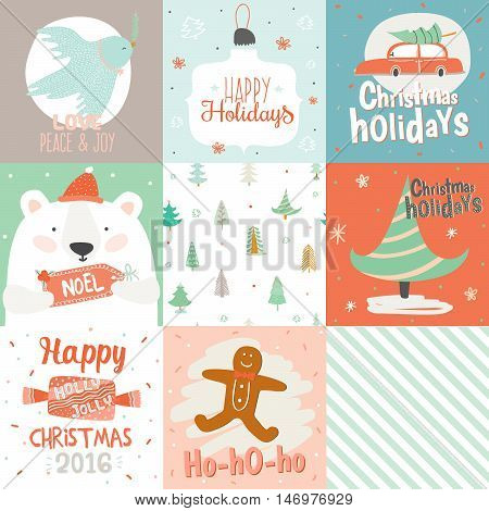 Collection of 9 Christmas gift tags and cards templates. Christmas beautiful cheerful posters set. Lovely winter invitations with cartoon and character style illustration.