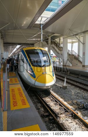 Penang, Malaysia - circa September 2016: KTM ETS Train in Penang, Malaysia. The KTM ETS is an inter-city rail service operated in Malaysia and is the fastest train in the country.