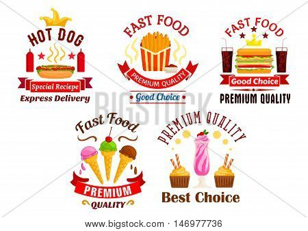 Fast Food icons set. Snacks, drinks and desserts label. Hot dog, fries, cheeseburger, soda coke, ice cream, milkshake stickers for restaurant menu, eatery delivery, cafe signboard