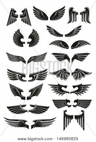 Black wings icons set. Heraldic vintage bird, eagle, angel wings outline silhouettes for tattoo, heraldry or tribal label. Vector gothic armor element