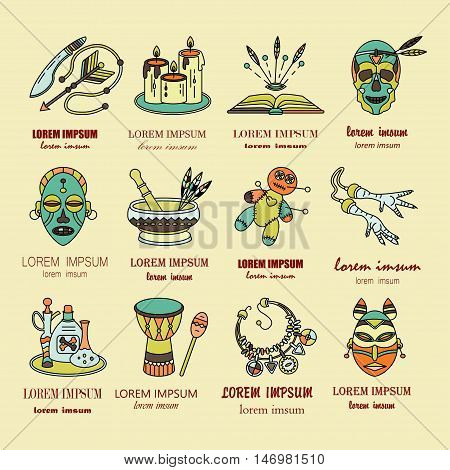 Voodoo African and American magic vector logo. Line icons of voodoo doll, skull, chicken foot, necklace, poison, candles, drums, book a machete.