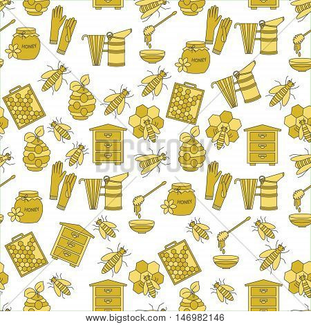 Honey vector seamless pattern with thin line symbols - sweet honey, natural honeycomb, beehive, wax, honeycomb, and other apiary equipment.