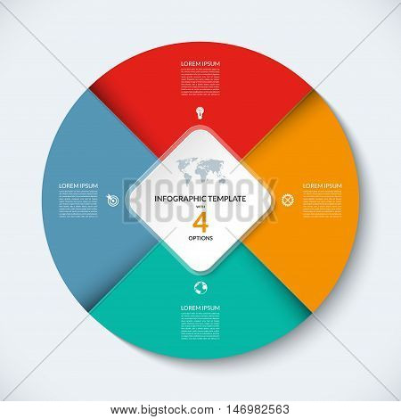 Vector infographic circle template. Business concept with 4 steps, parts, options. Round banner with the set of marketing icons and design elements. Can be used for cycle diagram, chart, graph, report