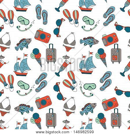Beach holiday vector seamless pattern. Pattern with summer sea icons about summer vacation. Flippers, step-ins, mask, cocktail, suitcase, sailboat, swimsuit, ice cream, sunglasses, fish, camera.