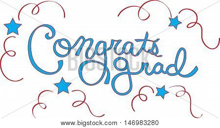 Congrats Grad in Red and White Lettering