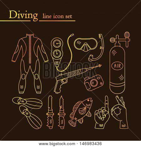 Vector golden line icons with diving equipment. Linear icons of scuba, oxygen balloon, diver knife, harpoon, spear gun, gauge, camera.