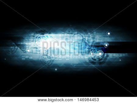 Dark blue hi-tech abstract background with binary code and gears elements. Vector technology design
