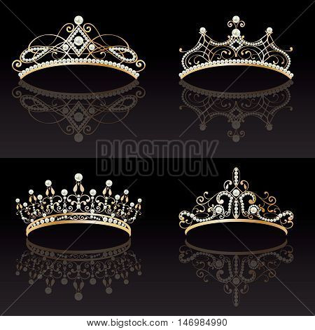 set collection of four 4 beautiful luxury golden with pearls feminine tiaras on black lighted background. with reflections. vector illustration.