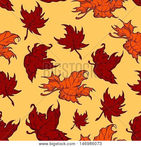 Autumn red maple leaves. Detailed intricate hand drawing. Isolated on yellow background. Chaotic distribution of elements. Seampless pattern. EPS10 vector illustration.