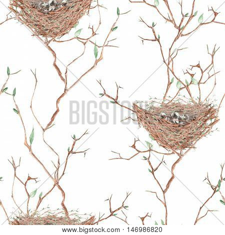 Seamless pattern of the watercolor bird nests on the spring tree branches, hand drawn on a white background