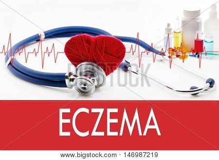 Medical concept eczema. Stethoscope and red heart on a white background