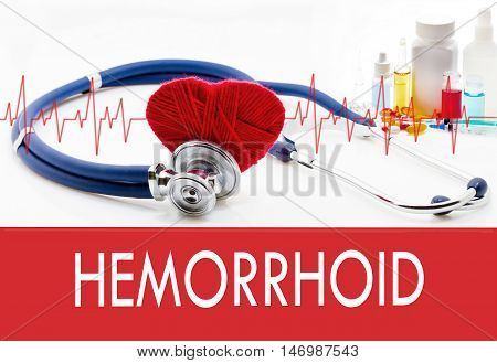 Medical concept hemorrhoid. Stethoscope and red heart on a white background