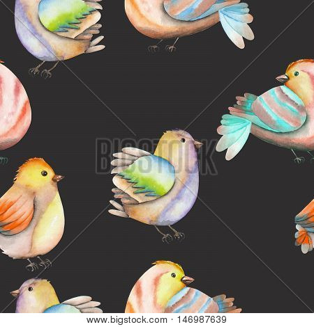 Seamless pattern of the watercolor birds, hand drawn on a dark background