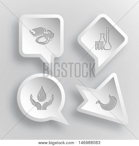 4 images: blood pressure, chemical test tubes, protection blood, stomach. Medical set. Paper stickers. Vector illustration icons.