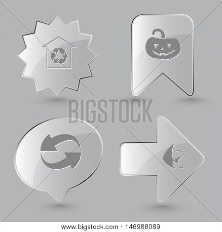 4 images: protection of nature, pumpkin, recycle symbol, fish. Nature set. Glass buttons on gray background. Vector icons.