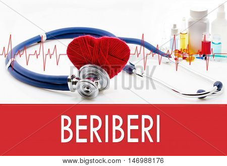 Medical concept beriberi. Stethoscope and red heart on a white background
