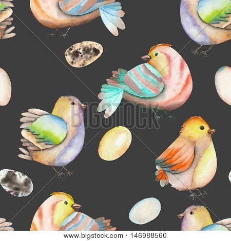 Seamless pattern of the watercolor birds and eggs, hand drawn isolated on a dark background