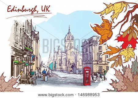 Royal Mile street panorama. Edinburgh, Scotland, the UK. Watercolor imitating painted sketch. EPS10 vector illustration.