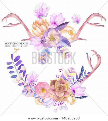 A decorative bouquets with the watercolor floral elements: succulents, flowers, antlers, leaves, feathers, arrows and branches, on a white background, for a greeting card, a decoration of a wedding invitation