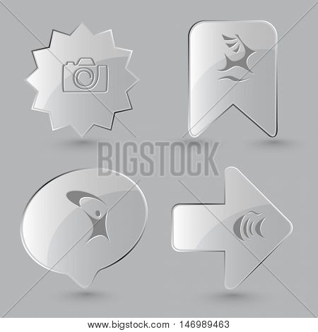 4 images: camera, deer, little man, fish. Abstract set. Glass buttons on gray background. Vector icons.