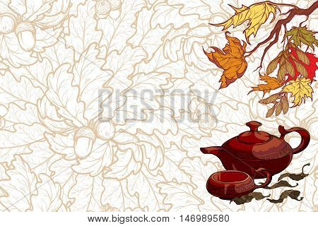 Still life composition. Ceramic teapot cup tea leaves maple branch on leaf pattern background. Seasonal tea menu template. Tea ceremony banner. EPS10 vector illustration.