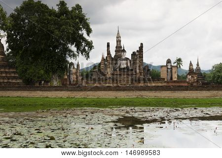 Sukhothai in Thailand historic park as landmark and travel destination