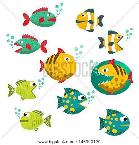 Cute fish vector illustration icons set. Fish icons isolated. Tropical fish, sea fish, aquarium fish set isolated on white background. Sea color flat design fish vector illustration. Eps10. Isolated on a white background.