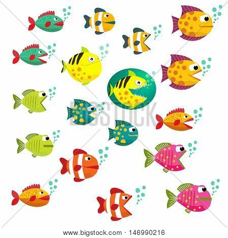 Big Set of tropical fishes, vector illustration. Fishes with open and closed mouth with bubbles. Fish flat style vector illustration. Eps10. Isolated on a white background.