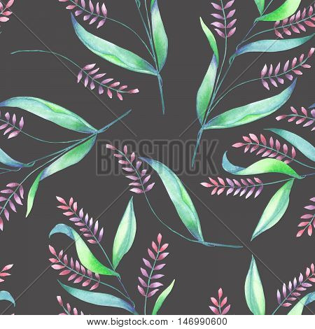 A seamless pattern with an floral ornament of the watercolor spikelets, hand-drawn on a dark background