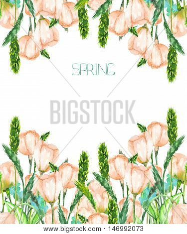 A decorative place (banner) with an ornament of the watercolor spring pink flowers for a text on a white background, a greeting card,a decoration postcard or wedding invitation, template of a postcard