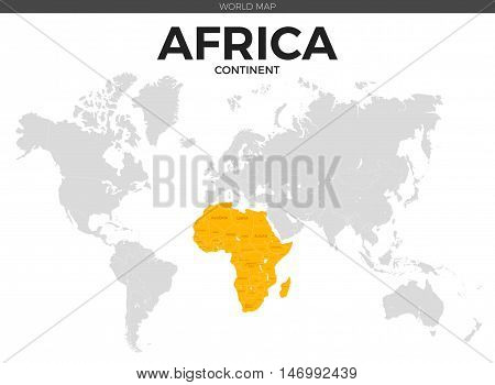 Africa continent location modern detailed vector map. All world countries without names. Vector template of beautiful flat grayscale map design with all African counties borders location and names