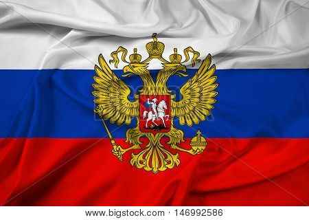 Waving Flag Of Russia With Coat Of Arms