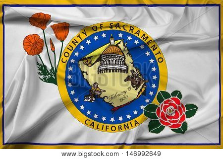 Waving Flag Of Sacramento County, California, Usa
