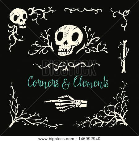 Spooky skulls, bones and branches. Halloween decoration graphic elements. Hand-drawn objects. Vector illustration.
