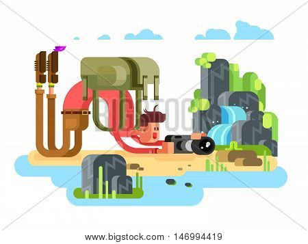 Photographer takes a picture of the caterpillar in the nature. Photographer amateur character, flat vector illustration