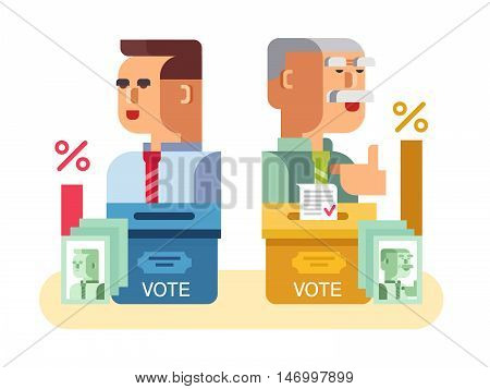 Elections candidates characters. Government, voting political, politic and democracy, flat vector illustration