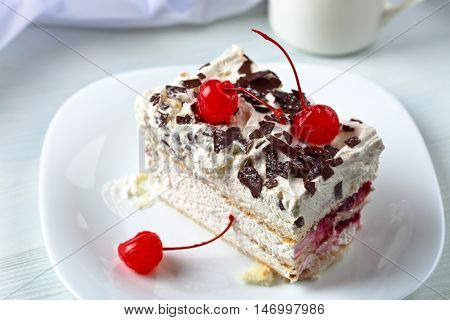 Homemade Cake With Cherries And Chocolate