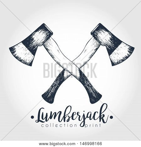Vector hand drawn logo of two crossed axes. Lumberjack print collection. Vintage engraved art. Hipster trendy forest illustration. Use for prints logo design restaurant camping business.