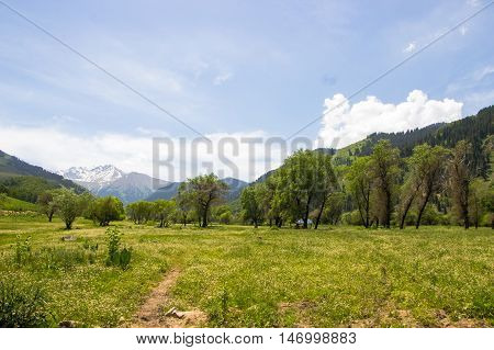 Panorama of the nature and mountains of the Kaskelen gorge in Almaty Kazakhstan