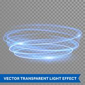 Vector blue circle light with tracing effect. Glowing magic neon fire ring trace. Glitter sparkle sw poster