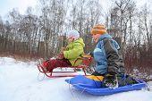 Постер, плакат: Брат и сестра намерены езды от холма зимой на санях сосредоточиться на брата