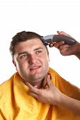 foto of hair cutting  - Handsome man getting a haircut  - JPG